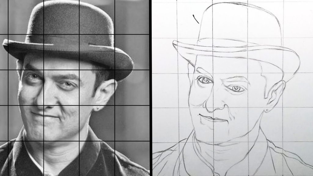 How to use Grid method   step by step face drawing   Amir Khan ...